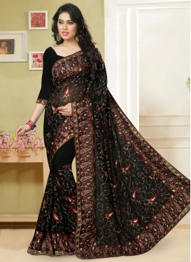 Enthralling Black Color Embroidery Designer Saree