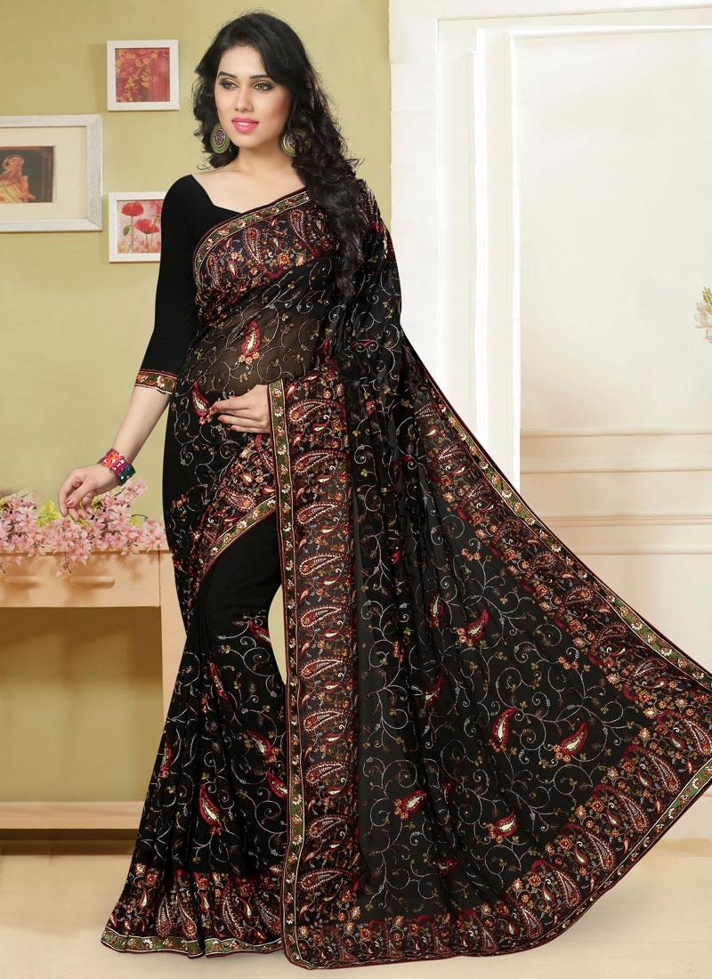 Enthralling Black Color Embroidery Designer Saree