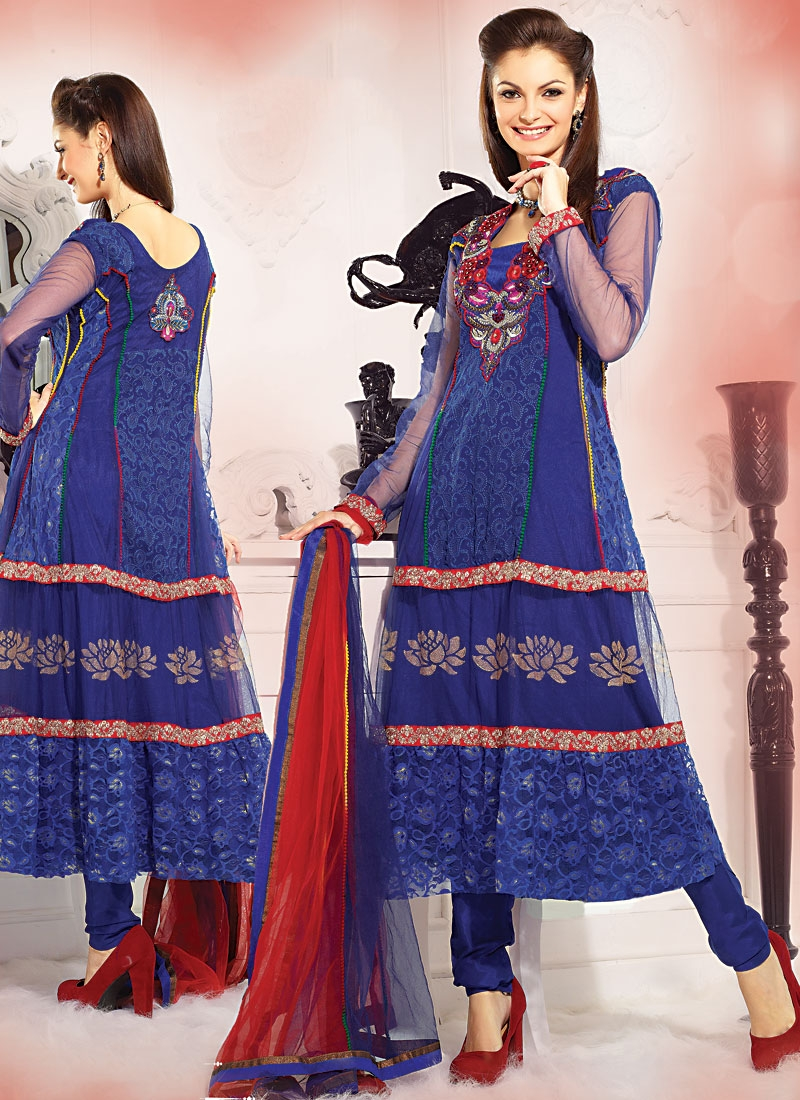 Enthralling Blue And Red Color Salwar Suit