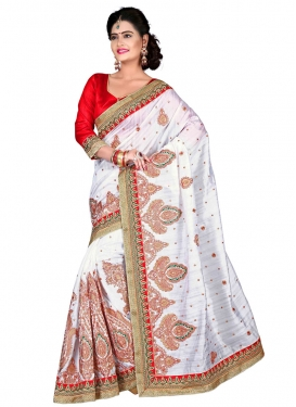 Enthralling Booti And Lace Work Designer Saree