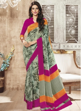 Enthralling Digital Print Work Art Silk Contemporary Style Saree