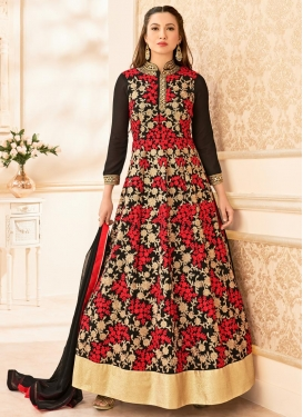 Enthralling Faux Georgette Embroidered Work Gauhar Khan Long Length Anarkali Suit