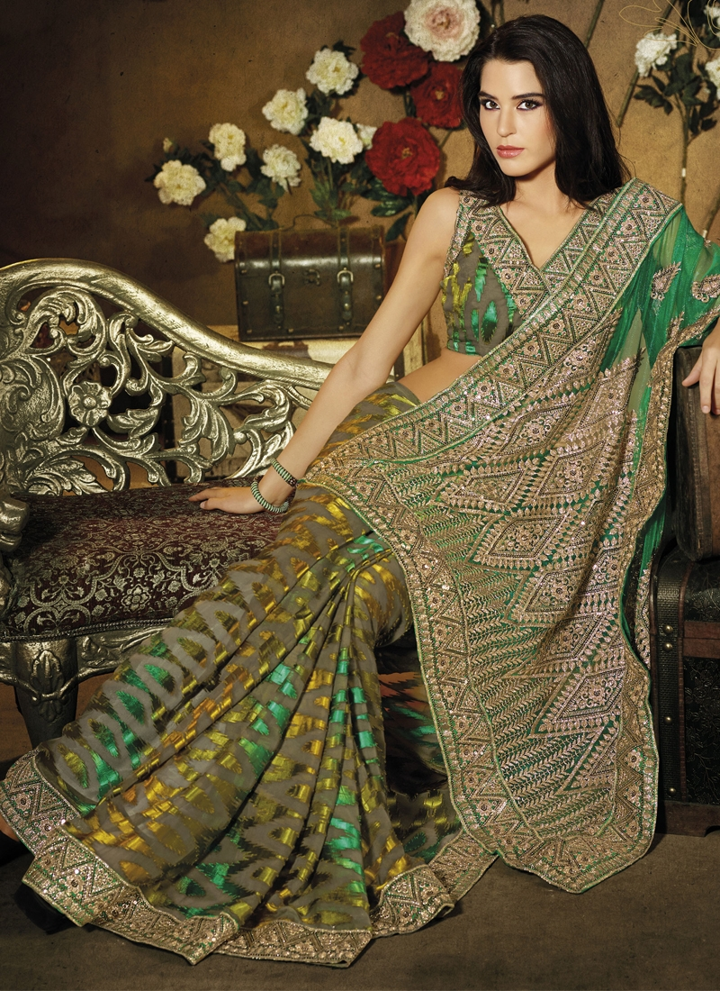 Enthralling Green Color Casual Saree