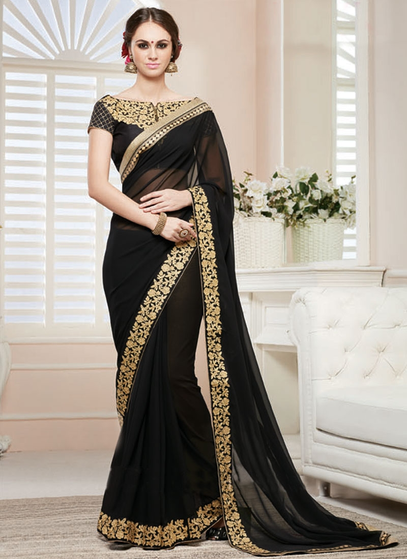 Enthralling Lace And Resham Work Black Color Party Wear Saree