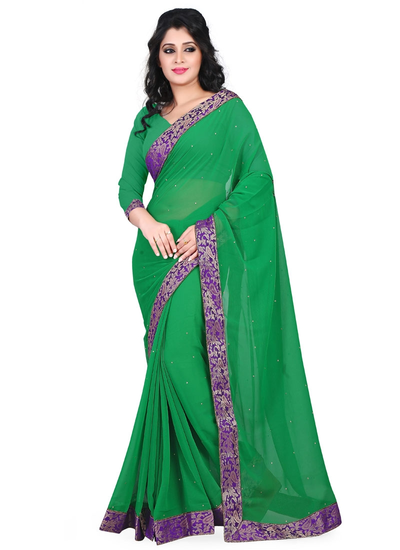 Enthralling Lace And Stone Work Casual Saree