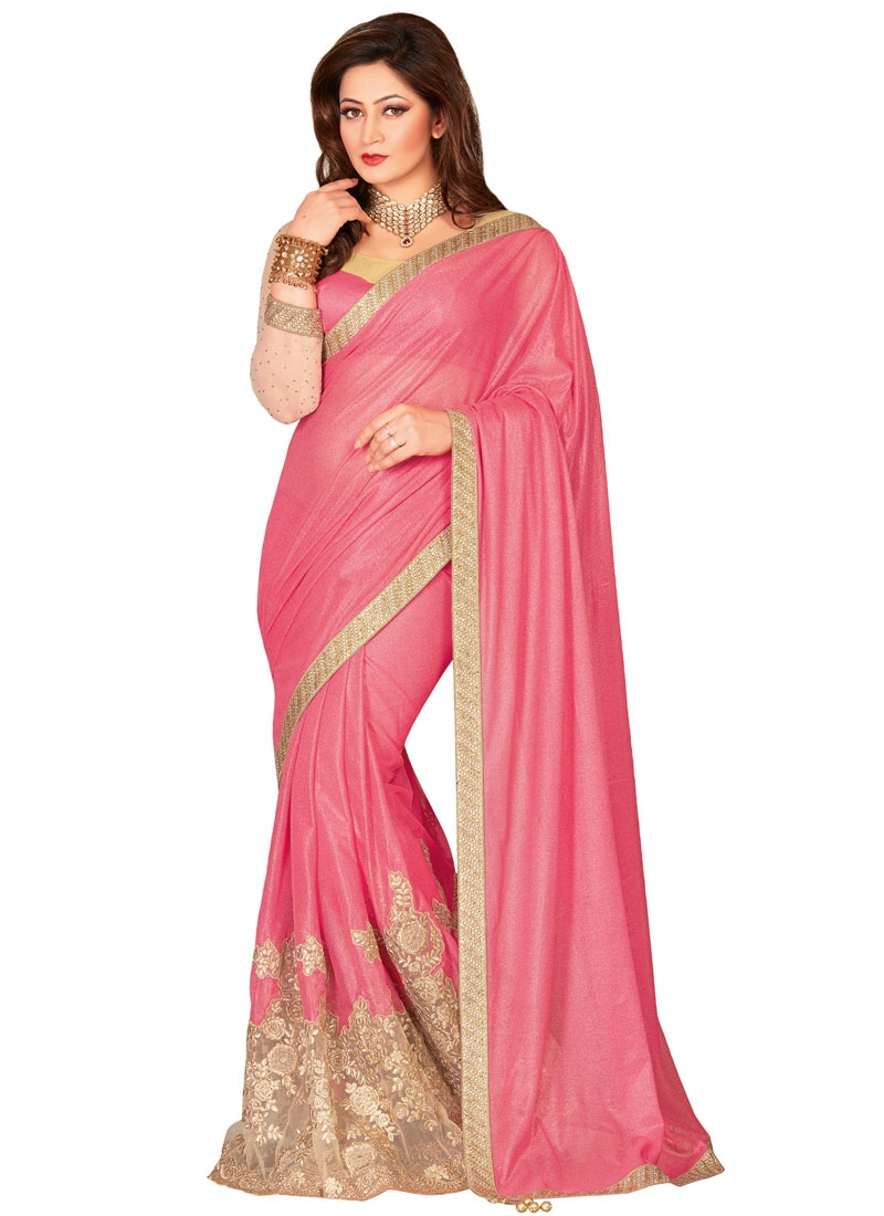 Enthralling Lace Work Net Designer Saree