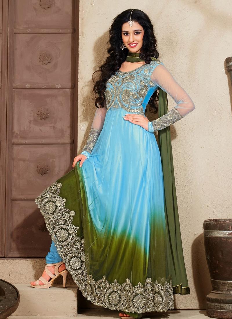 Enthralling Light Blue And Olive Color Anarkali Suit