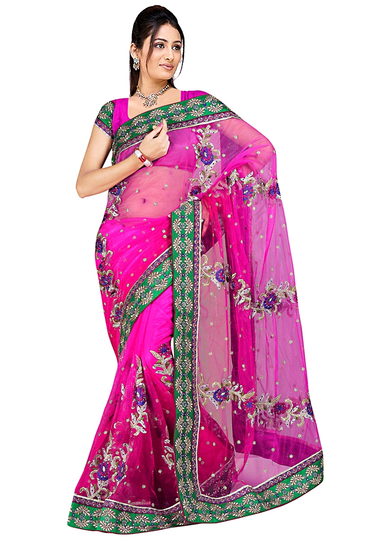 Enthralling Magenta Party Wear Saree