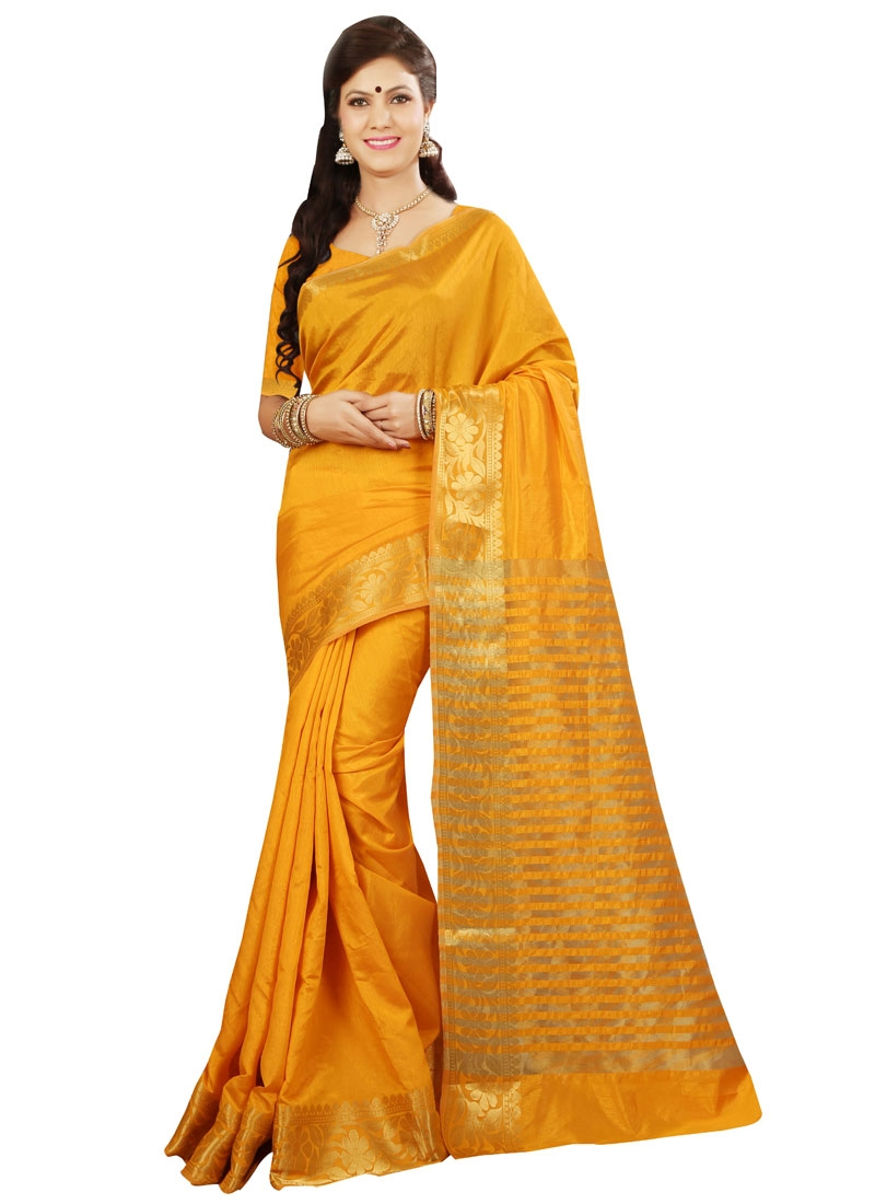 Enthralling Mustard Color Resham Work Casual Saree
