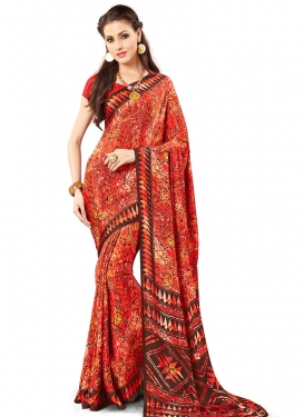 Enthralling Print Work Crepe Silk Contemporary Saree