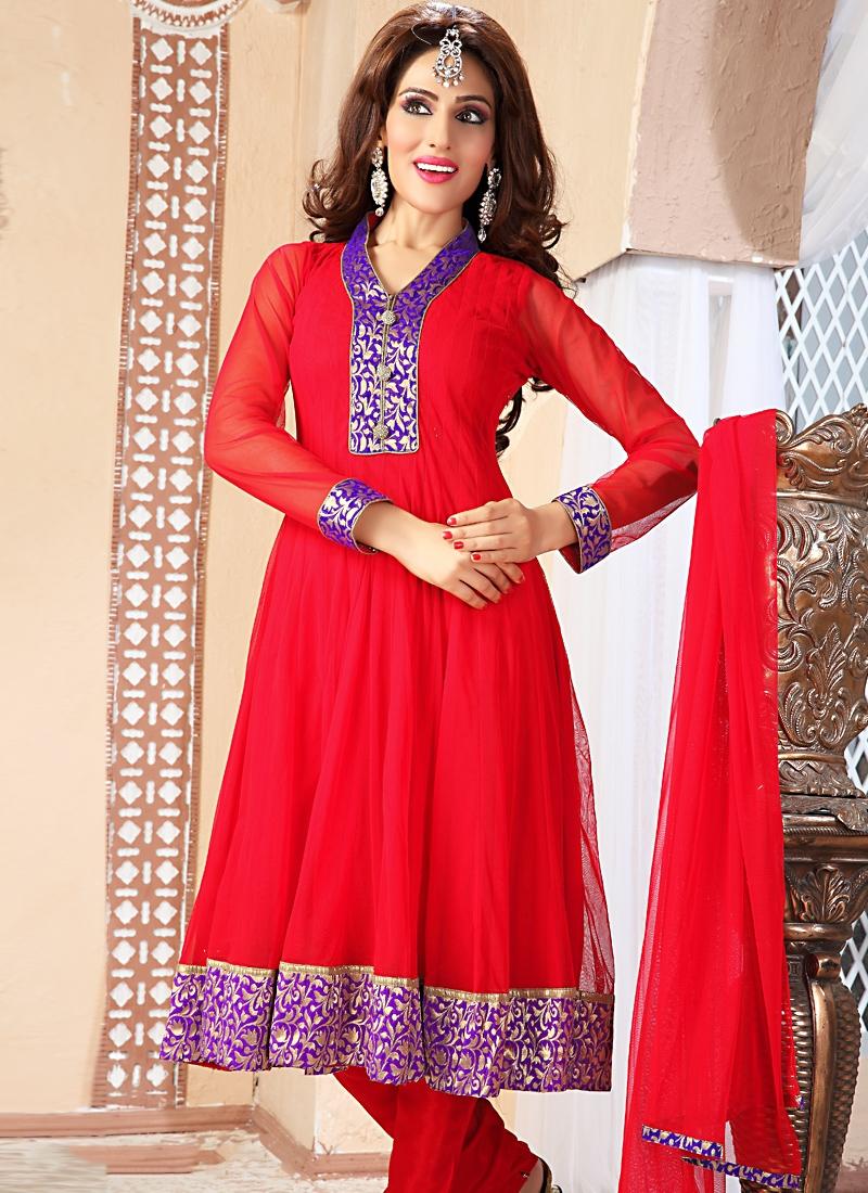 Enthralling Red Color Net Salwar Kameez