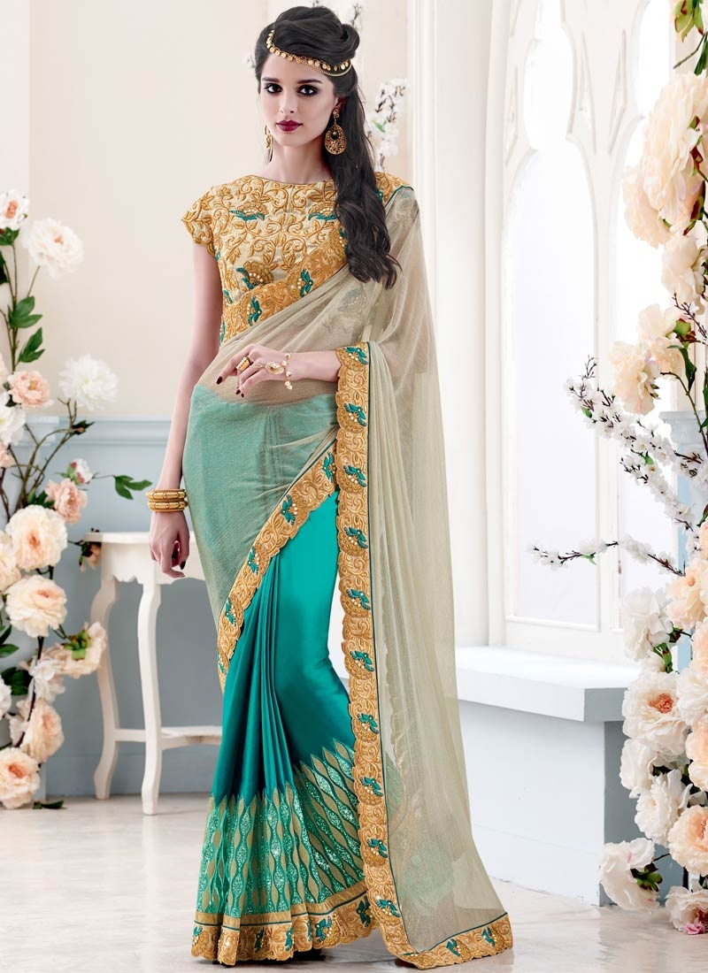 Enthralling Satin Teal Color Half N Half Wedding Saree