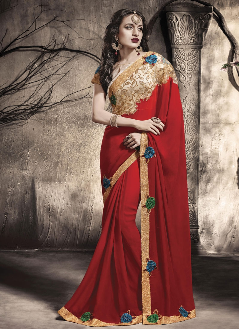 Enthralling Sequins Work Red Color Designer Saree