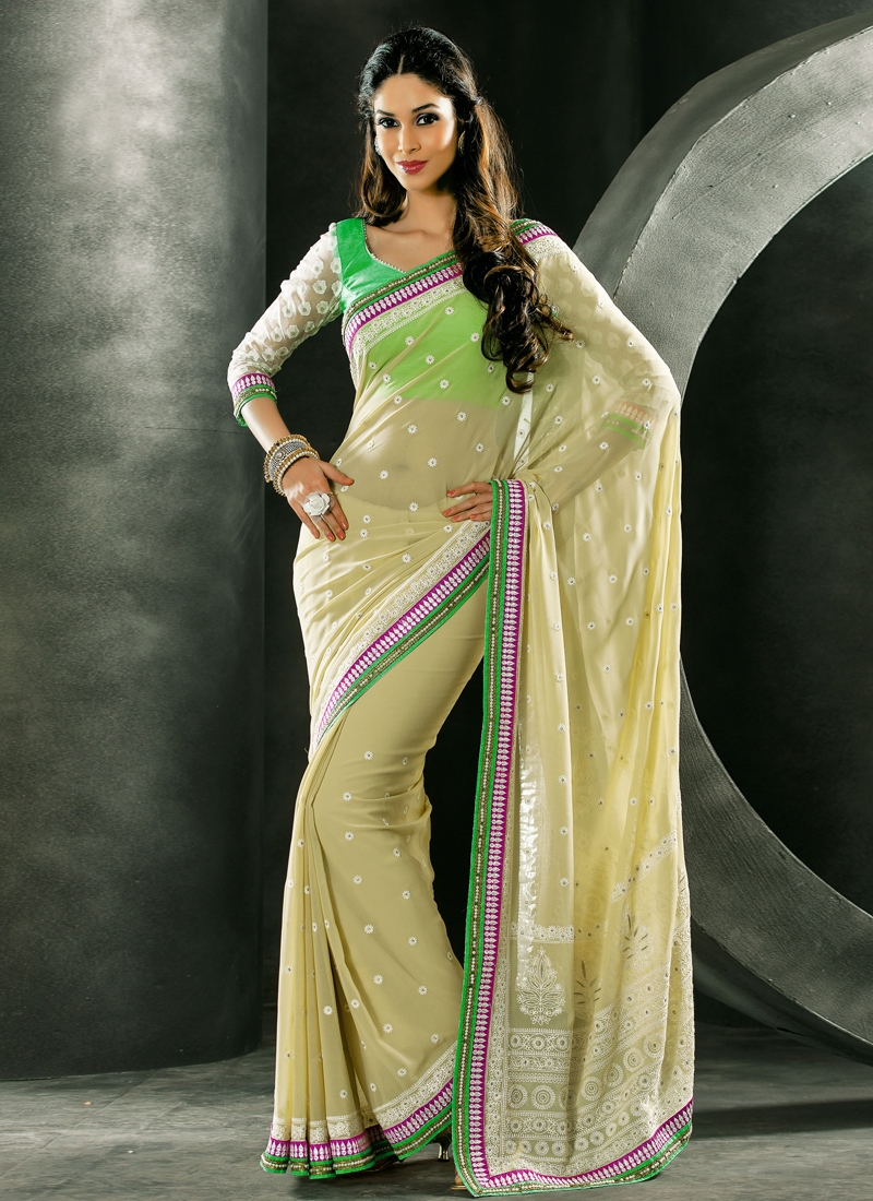 Enticing Beads And Lace Work Party Wear Saree