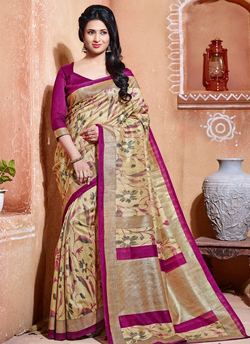 Enticing Beige Color Divyanka Tripathi Casual Saree