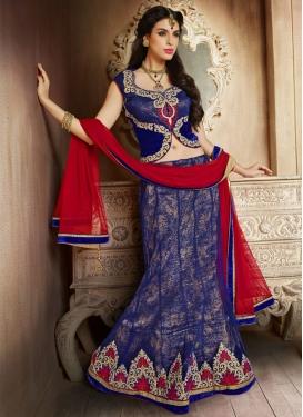 Enticing Blue Color Net Wedding Lehenga Choli