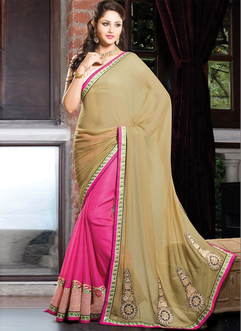 Enticing Booti And Patch Work Half N Half Designer Saree