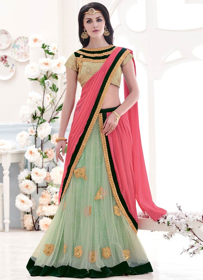 Enticing Booti And Velvet Patch Work Designer Lehenga Saree
