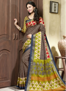 Enticing Brown Color Art Silk Casual Saree