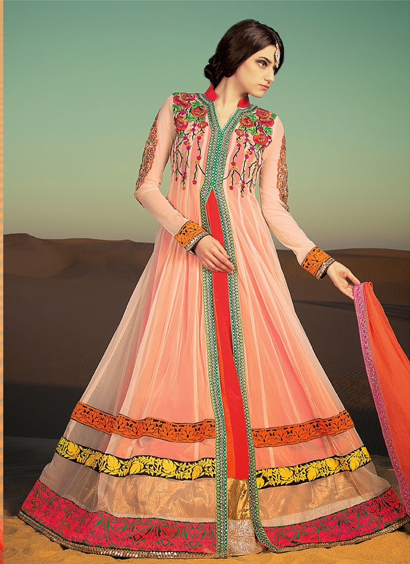 Enticing Cream And Red Color Designer Salwar Kameez