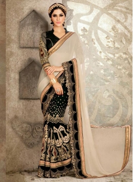 Enticing Embroidered Work Beige and Black Half N Half Trendy Saree
