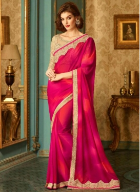 Enticing Embroidered Work Fuchsia and Red Faux Georgette Traditional Saree For Ceremonial