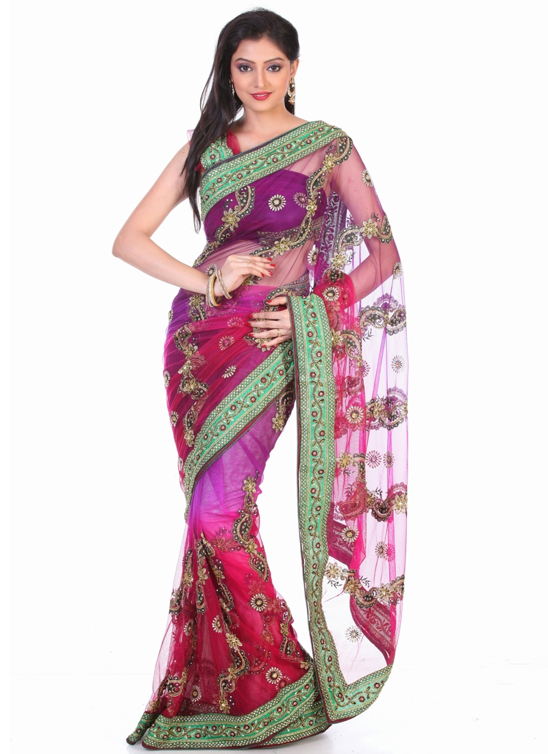 Enticing Floral Enhanced Wedding Saree