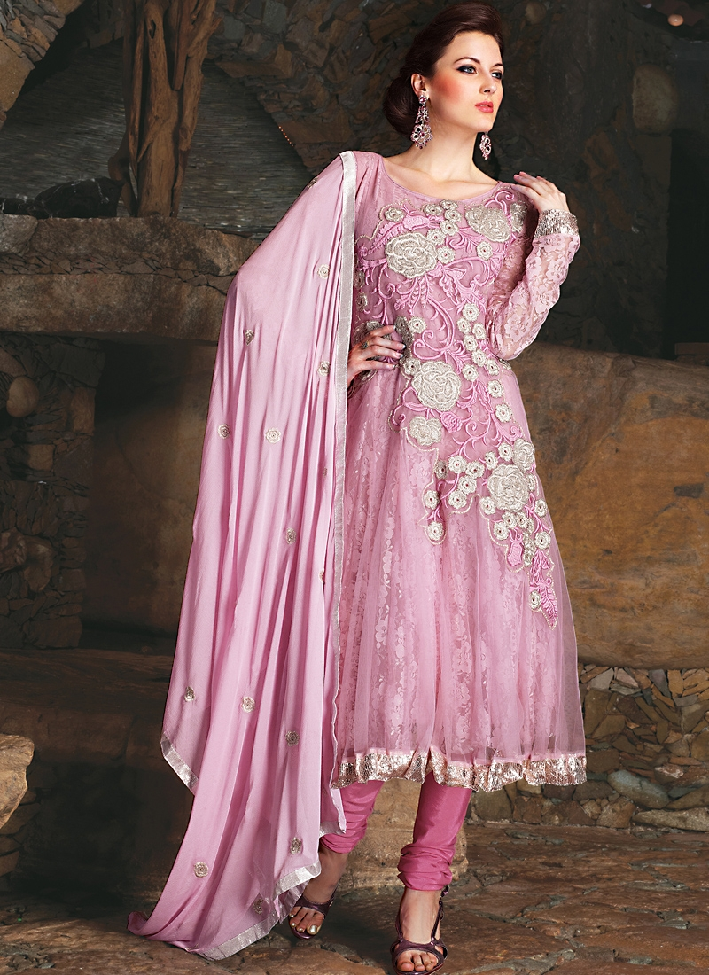 Enticing Hot Pink Jacquard Net Salwar Kameez