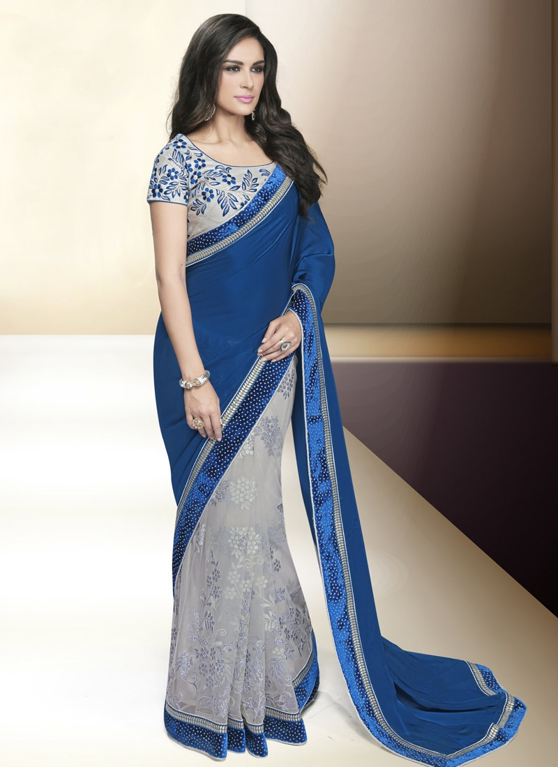 Enticing Net And Satin Half N Half Designer Saree