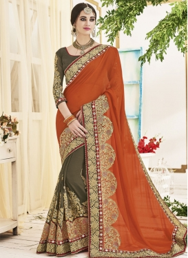 Enticing Olive and Orange Half N Half Trendy Saree