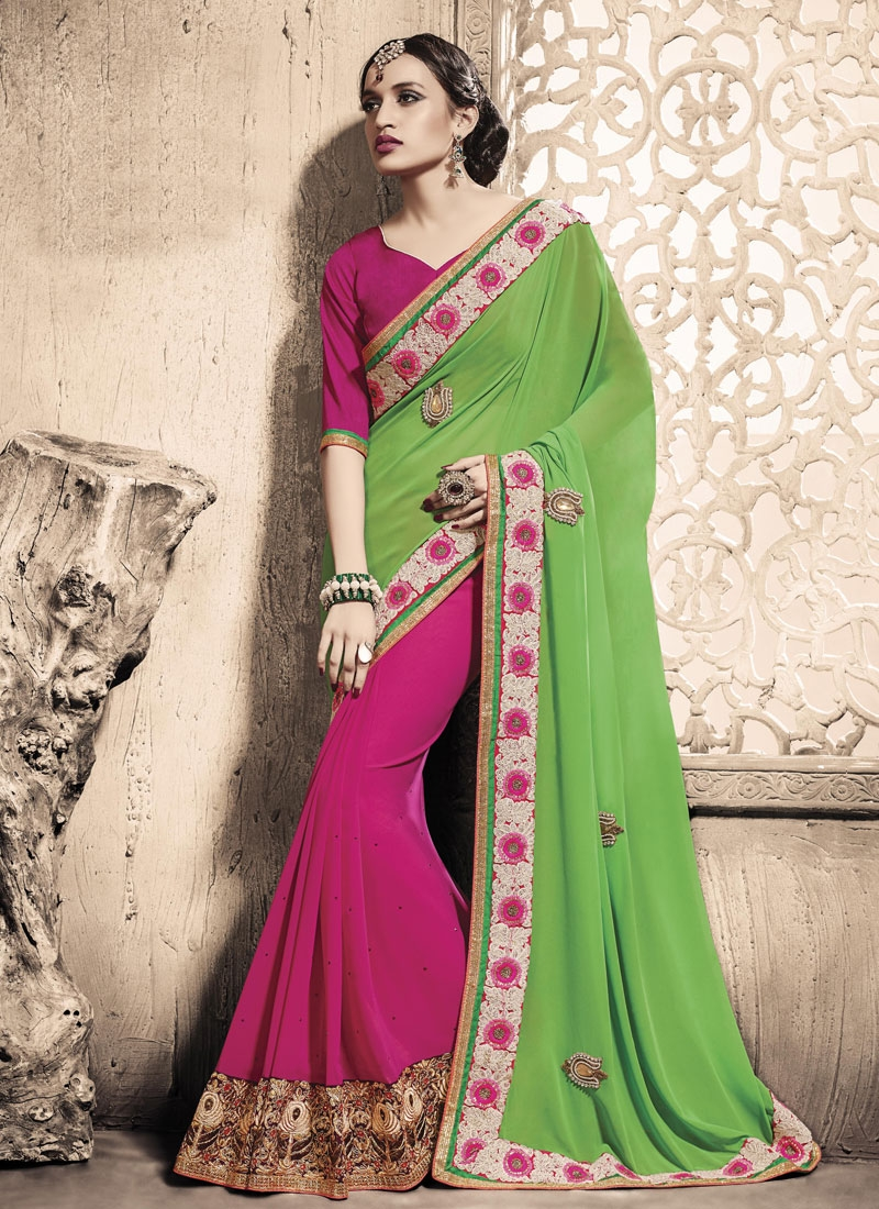 Enticing Patch Border Work Half N Half Designer Saree