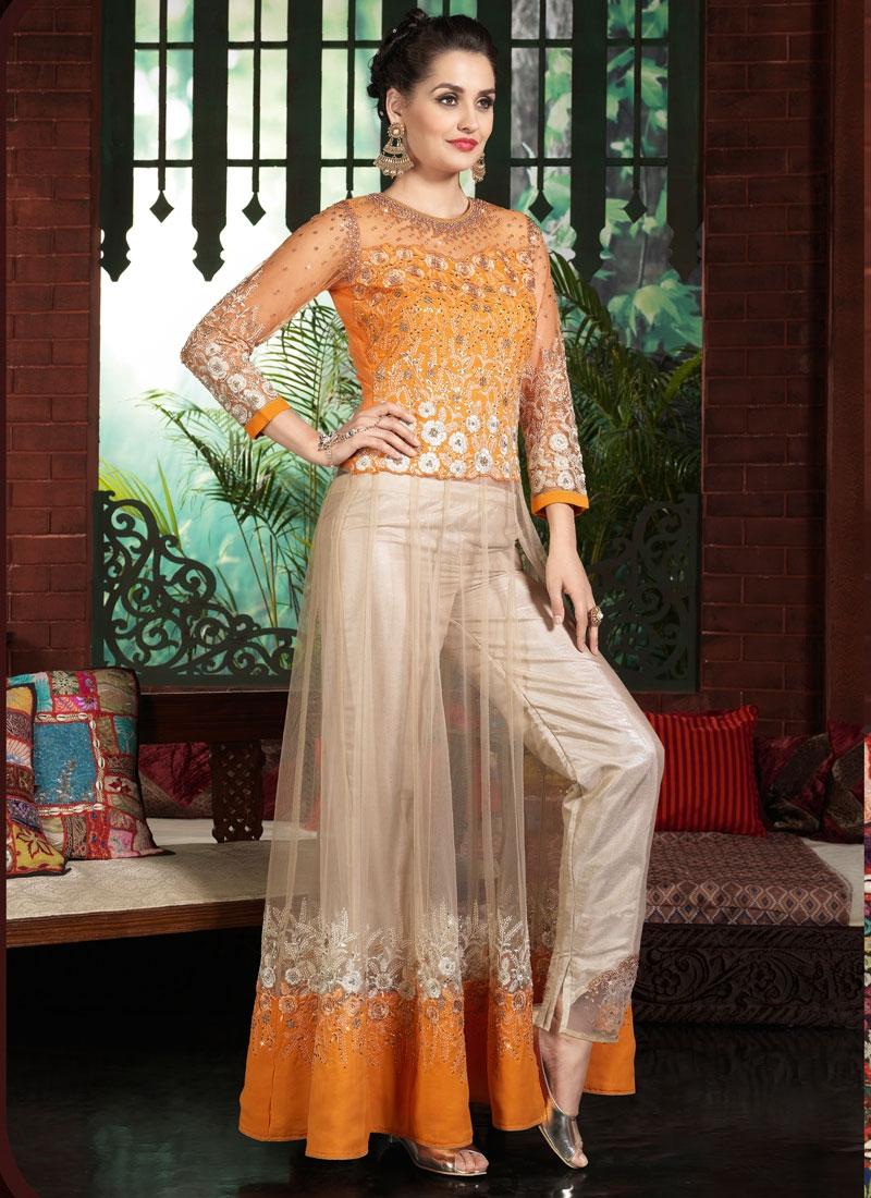 Enticing Patch Border Work Pant Style Designer Salwar Kameez