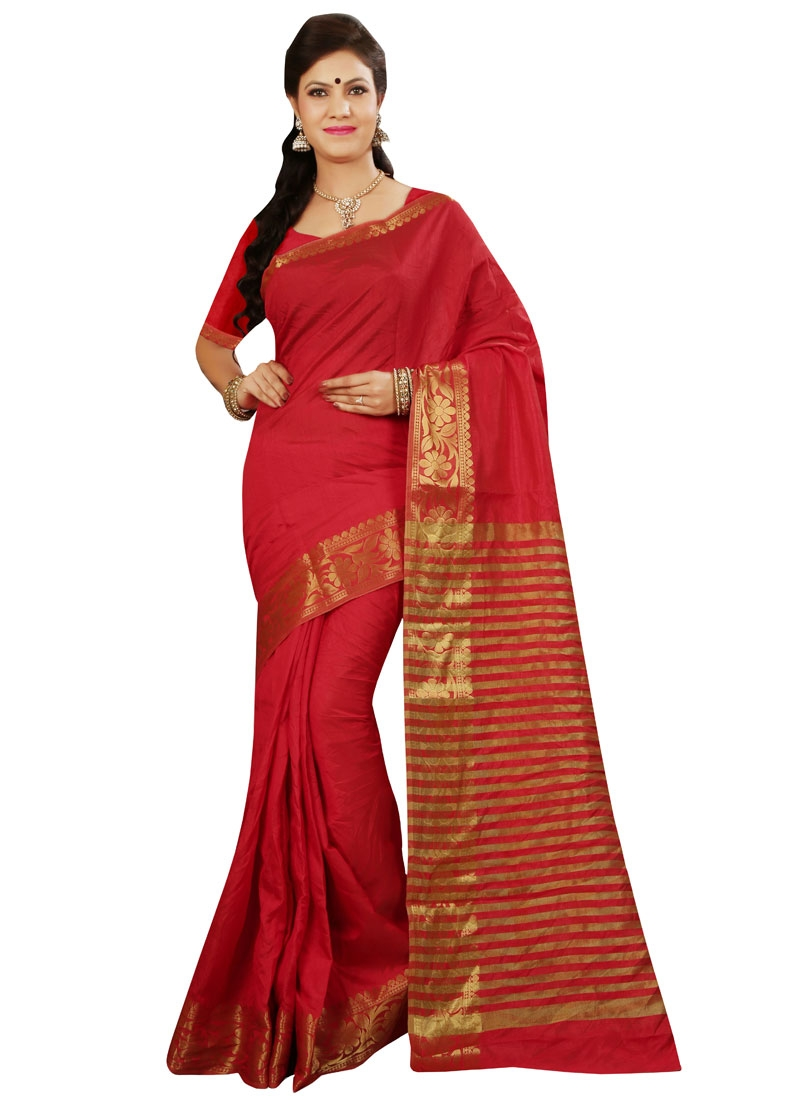 Enticing Red Color Casual Saree
