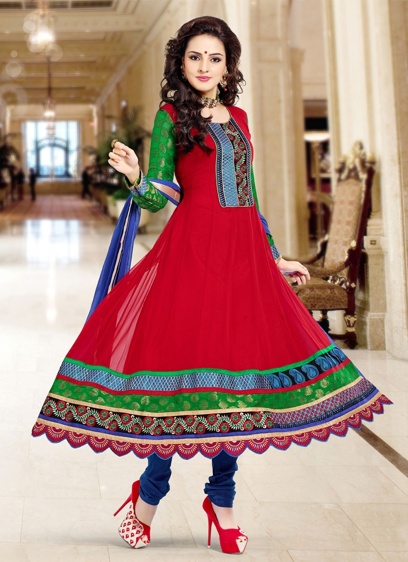 Enticing Resham And Lace Work Party Wear Suit