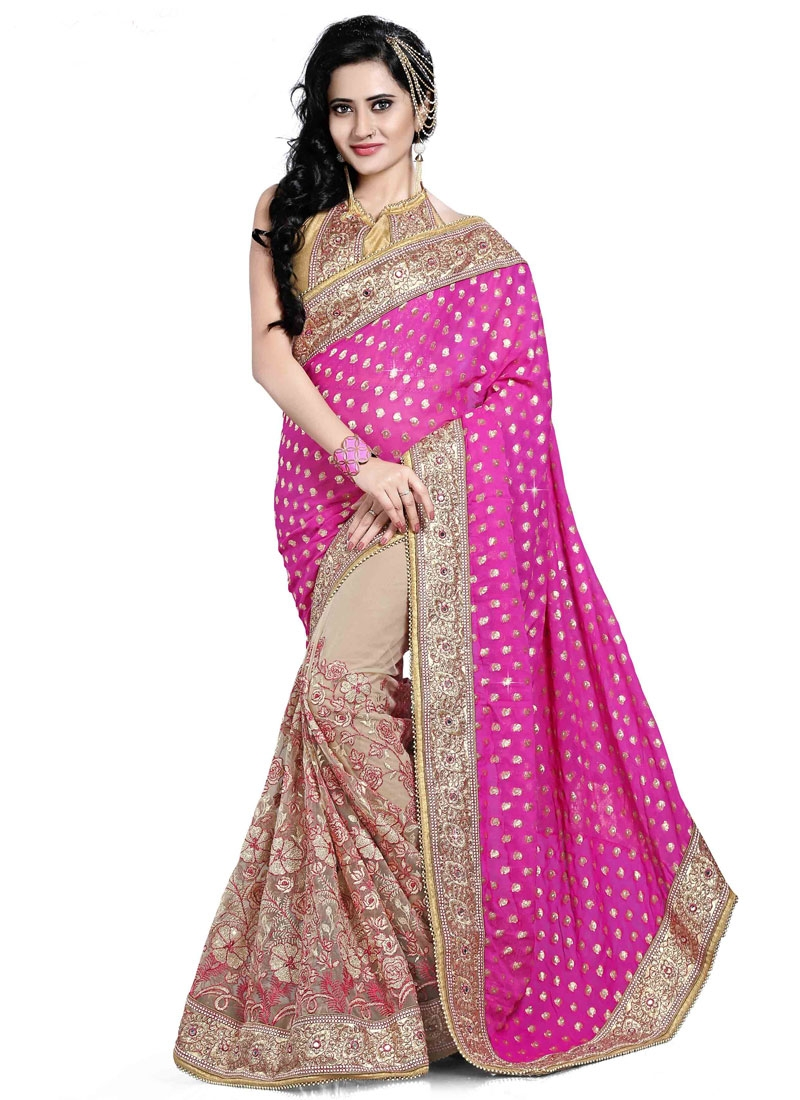 Enticing Viscose And Net Half N Half Wedding Saree