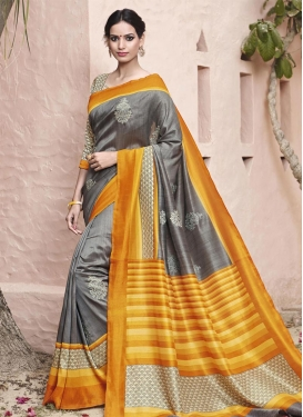 Entrancing Art Silk Traditional Saree For Festival