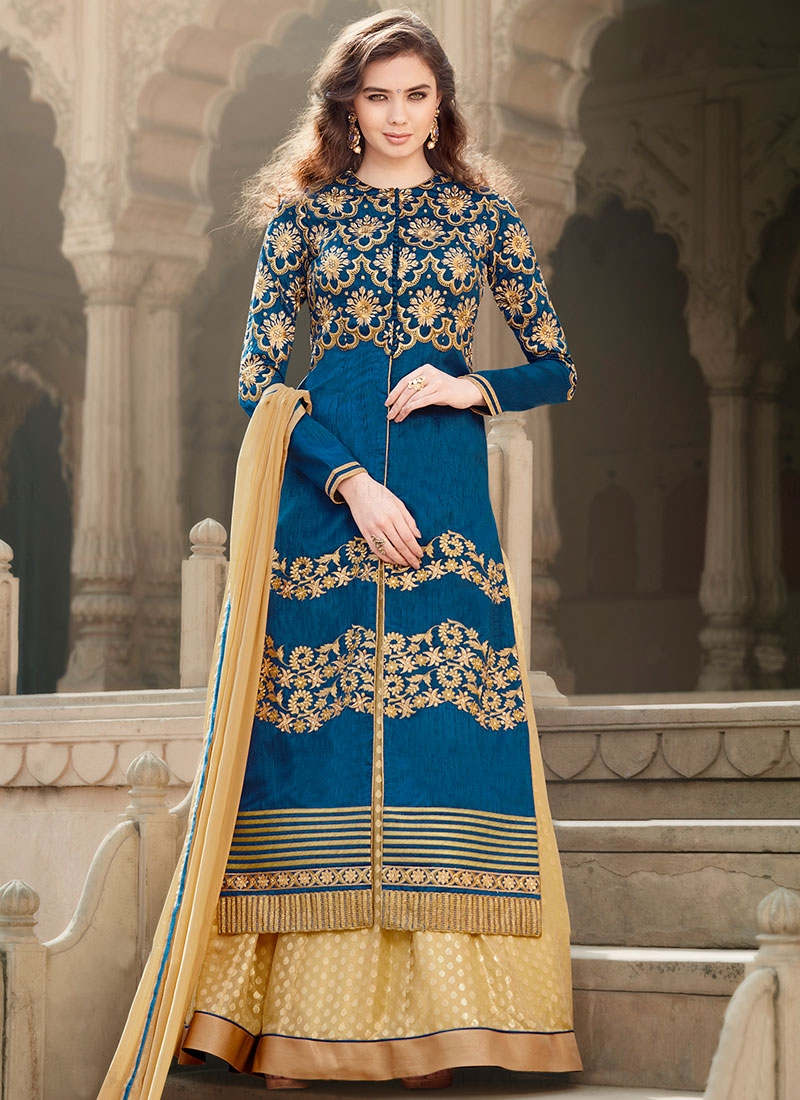 Entrancing Banglori Silk Kameez Style Designer Lehenga Choli
