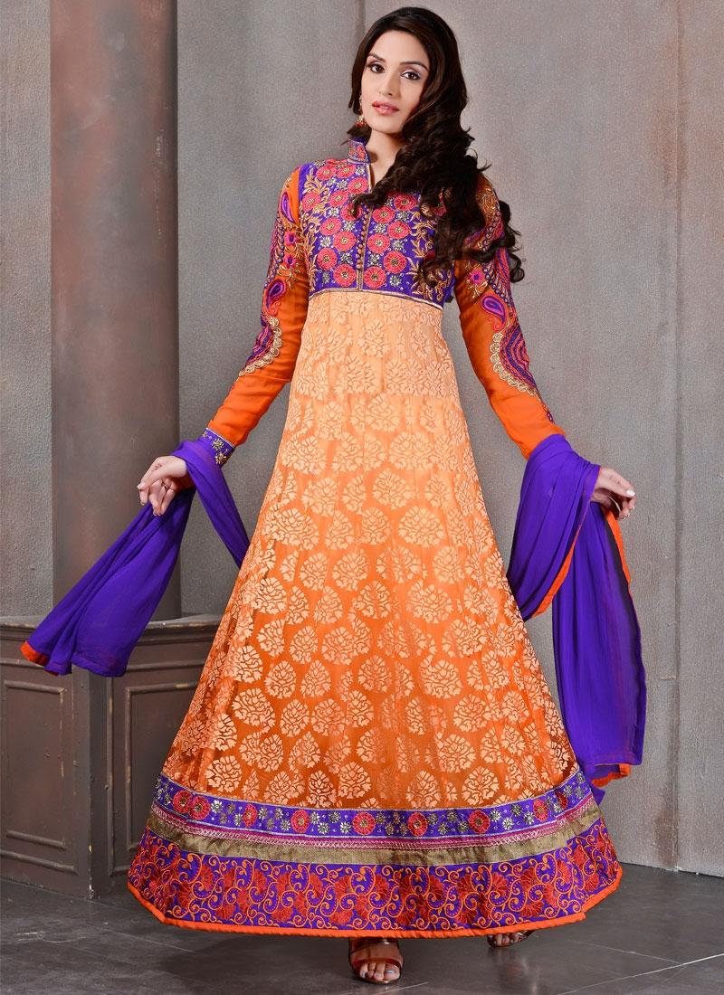 Entrancing Booti And Resham Work Anarkali Salwar Kameez