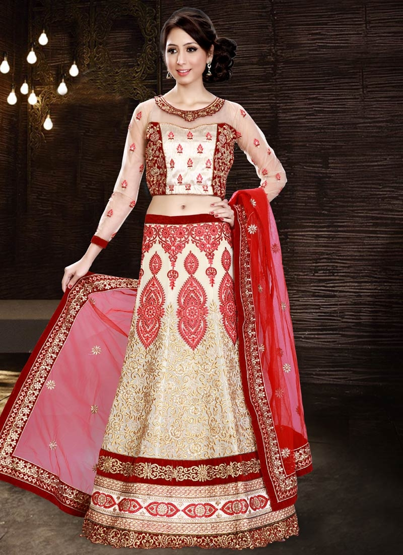 Entrancing Booti And Stone Work Bridal Lehenga Choli