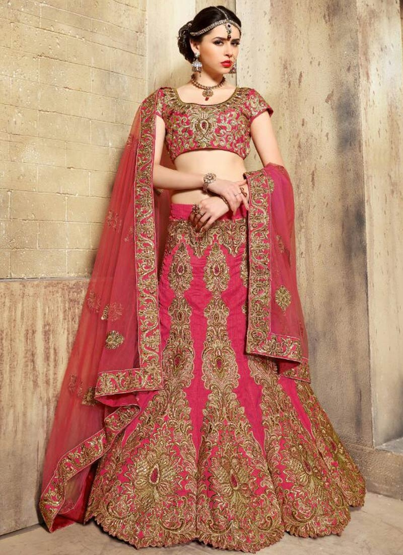 Entrancing Booti Work Art Dupion Silk Bridal Lehenga Choli