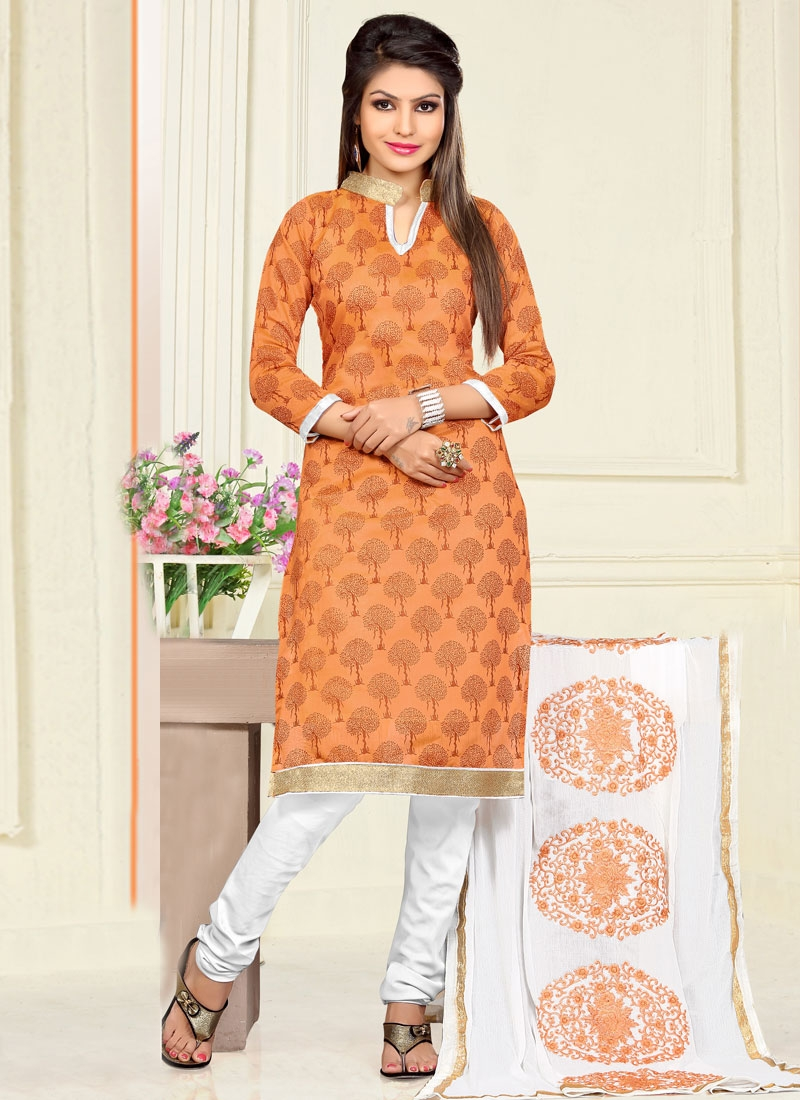 Entrancing Chanderi Cotton Lace Work Casual Salwar Kameez