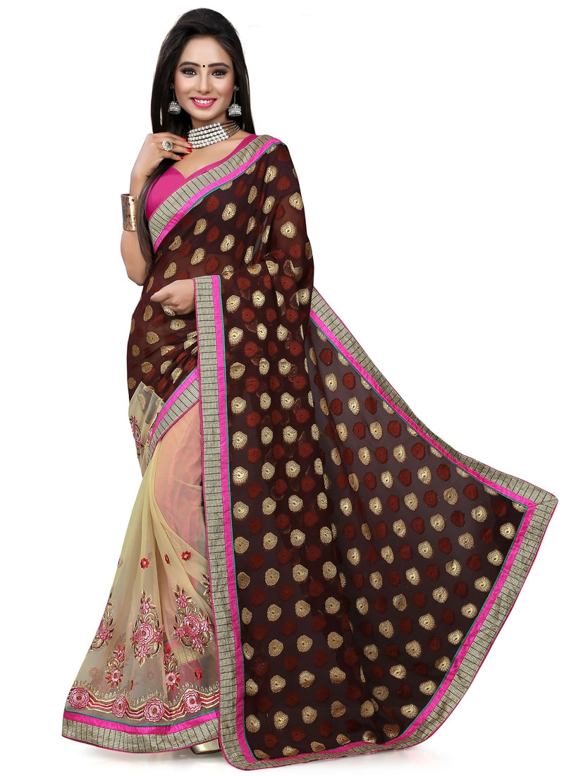 Entrancing Coffee Brown Color Half N Half Party Wear Saree