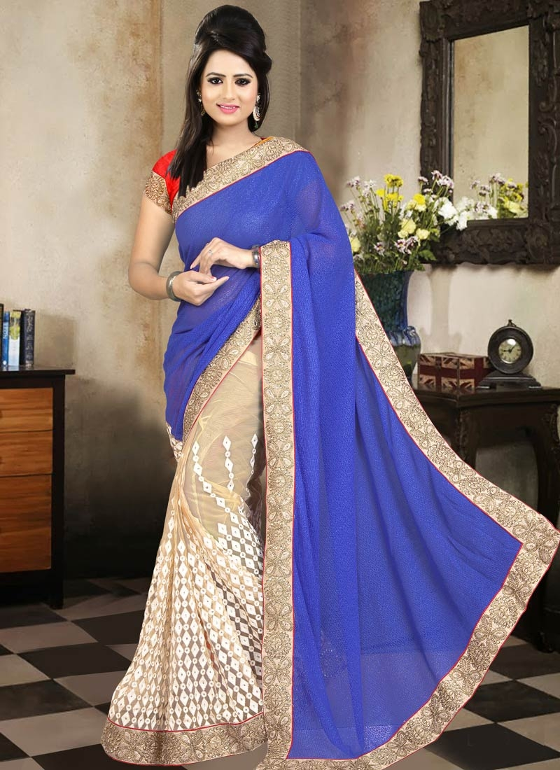 Entrancing Embroidery Work Half N Half Designer Saree