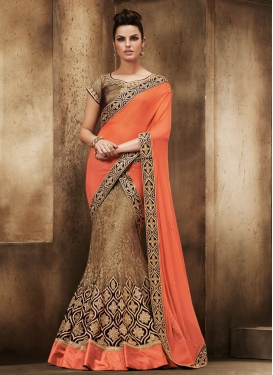 Entrancing Faux Chiffon And Net Designer Lehenga Saree