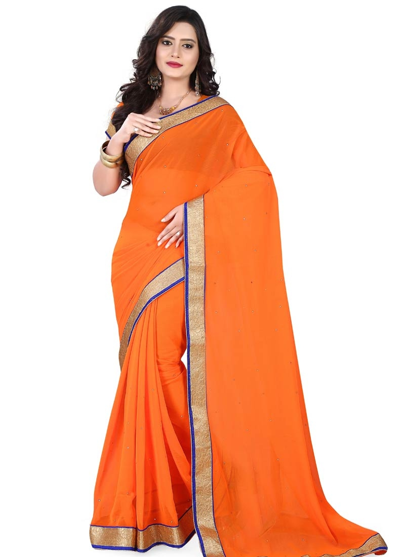 Entrancing Faux Chiffon Orange Color Casual Saree