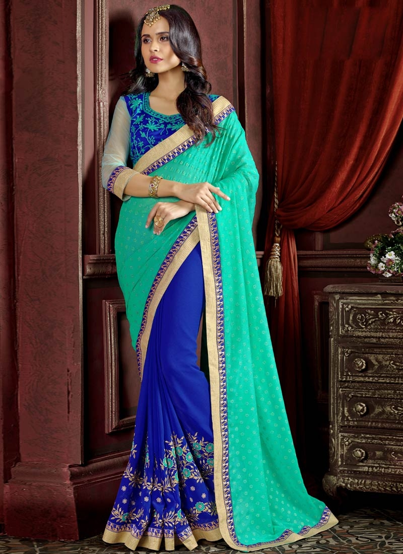 Entrancing Faux Georgette Half N Half Party Wear Saree