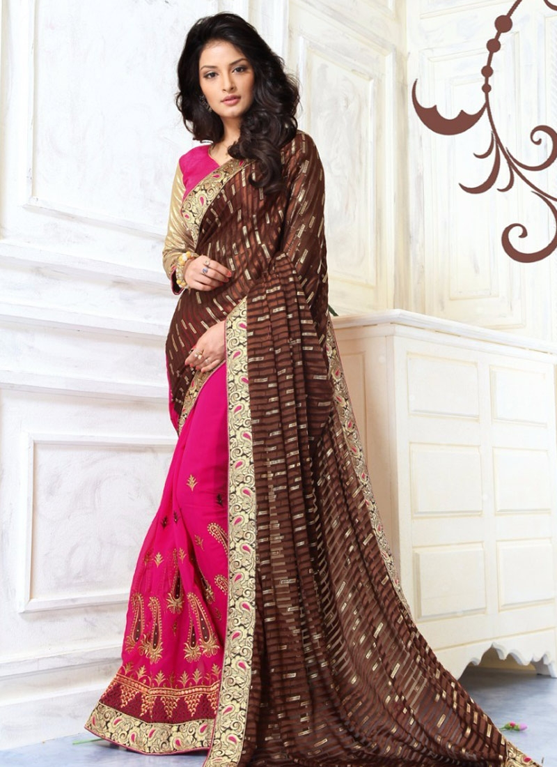 Entrancing Faux Georgette Lace Work Half N Half Party Wear Saree