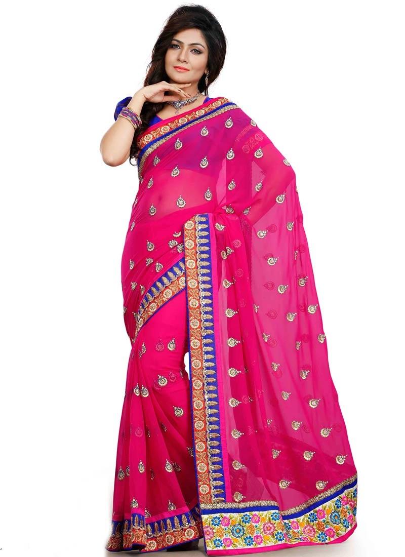 Entrancing Floral And Lace Work Designer Saree
