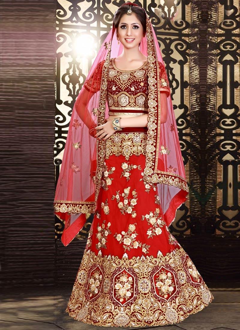 Entrancing Floral Work Red Color Bridal Lehenga Choli
