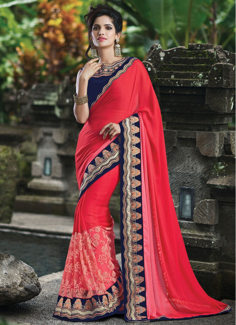 Entrancing Jacquard Lace Work Designer Saree